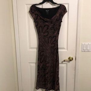 BCBG silk dress black paisley 6P MSRP $98